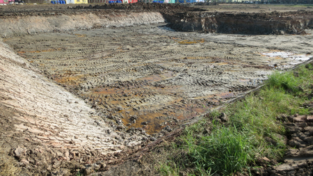 Excavation soil for building apartment building at thailand