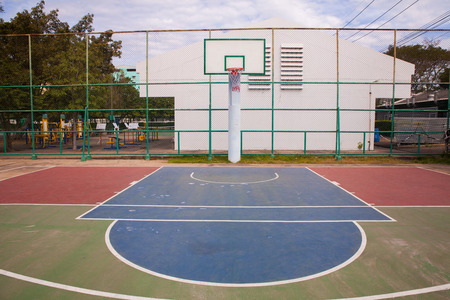 Outdoor Basketball Court At Noon In Thailand Stock Photo   91711923