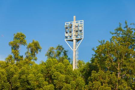 Spotlight football field and tree at thailand