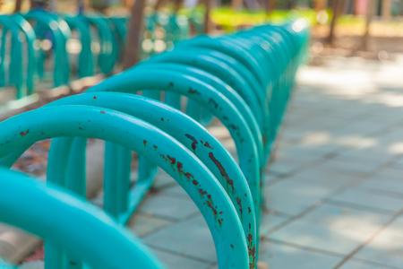 Bike rack in parking lot at bangkok thailand Imagens