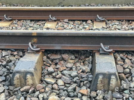 outdoor Railway with concrete sleepers in thailand