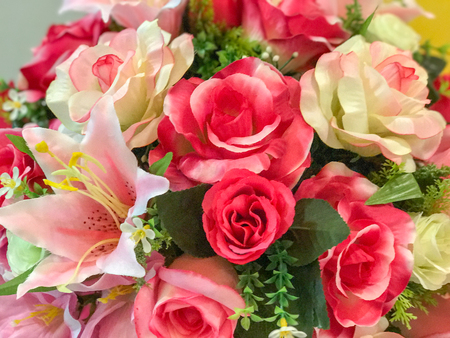 close up of Bunch of roses in vase