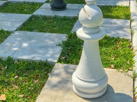 Outdoor big chess and Checkered flag in the garden