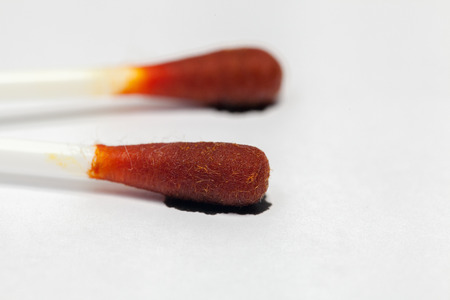 Close Up Of cotton buds with Iodine tincture Imagens - 92147271