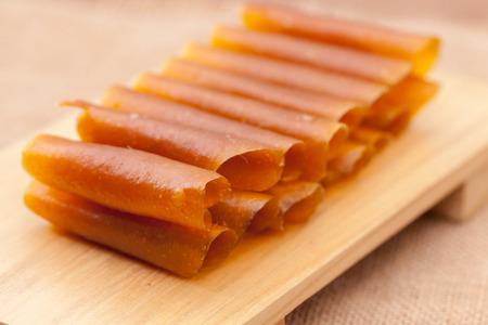 close up of dried mango paste, Thai Dessert concept