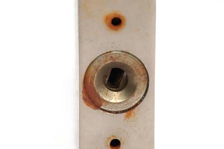 close up of padlock isolated on white