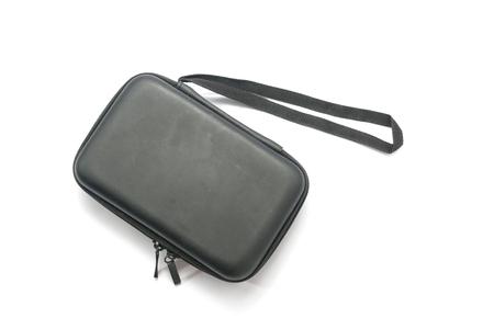 白で隔離されたジッパーが付いている黒い保護袋