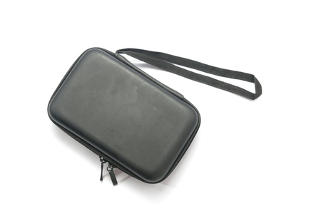 Saco de proteção preto com zíper isolado no branco Foto de archivo - 92493358