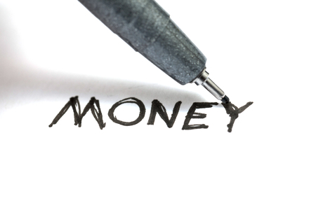 close up of MONEY handwriting on paper, business concept Stock fotó