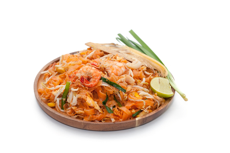 pad thai noodle on plate isolated on white background