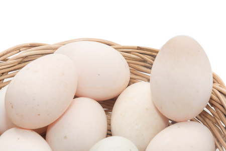raw dirty duck eggs in basket on white background Stock Photo