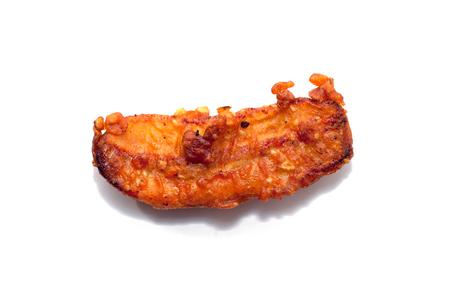 deep fried sliced banana on white background Stock Photo