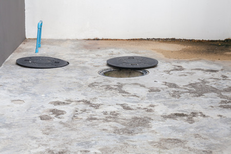 plastic caps of the septic system of the house