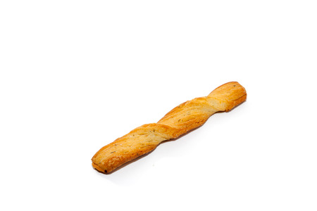 twisted bread stick isolated on white background