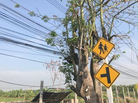 school sigh on the pole in thailand