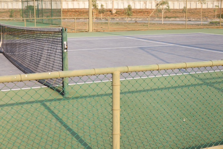 outdoor Tennis court on sunny day in thailand