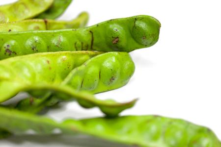 Parkia speciosa bean or bitter bean on white background Stock Photo