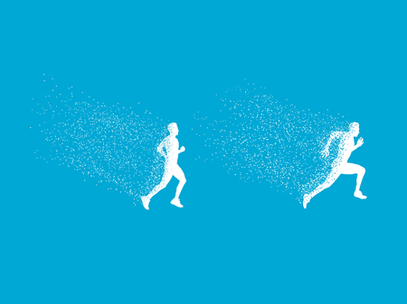 running men with particle on sky blue background Vector illustration.