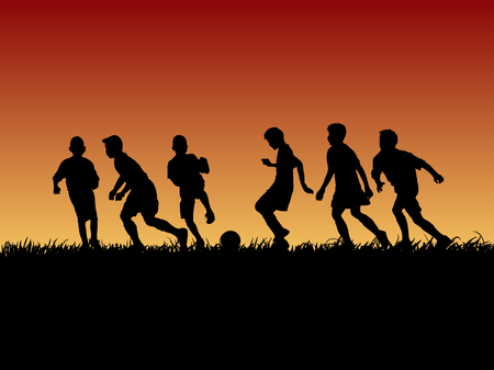 Silhouette group of soccer kid on sunset design