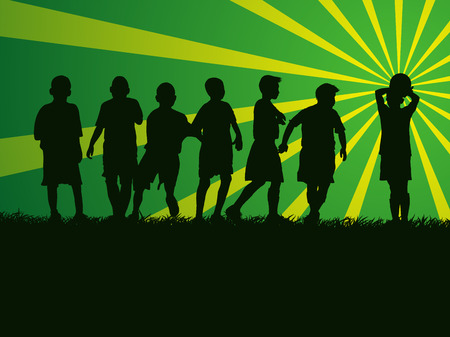 silhouette group of kids playing soccer on grass field Vector illustration.