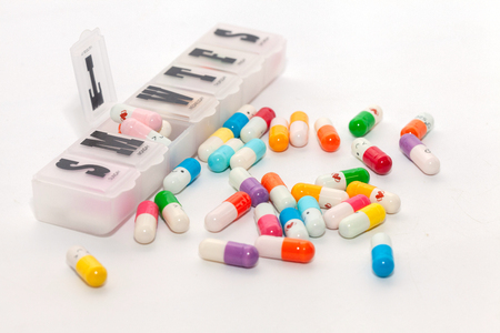 colorful pill in the box on white background Stock fotó - 102146604