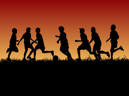 set of silhouette kids playing football with evening background
