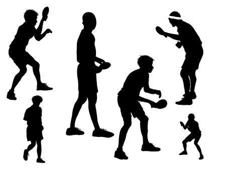 conjunto de hombre de silueta jugando al tenis de mesa Ilustración de vector