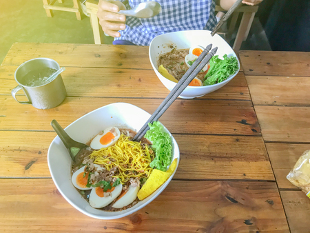 Yakisoba noodle soup with Stewed pork with meatball and egg
