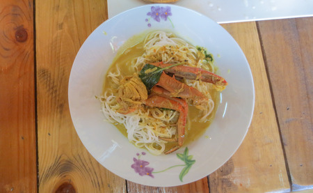 Thai Rice flour Noodles with Crab Curry sauce