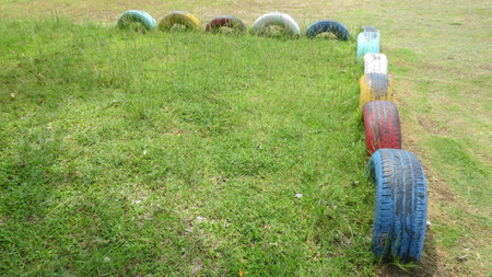 colorful Tire toy Recycle in school playground at thailand