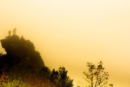 heavy fog, cloud and mist in tropical rainforest in mon jong doi at Chaing mai, Thailand Stockfoto