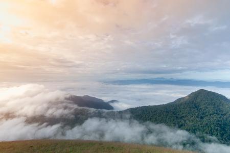Beautiful sky, cloud, mist and mountain at Doi Mon Jong, Chiang Mai, Thailand