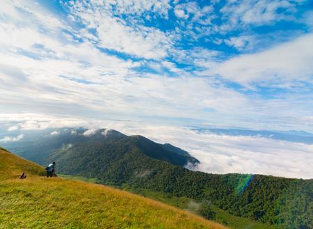 photographer take a photo on the top of mountain at Doi Mon Jong, Chiang Mai, Thailand