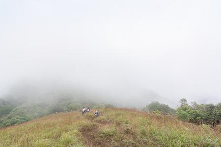 group of tourist walking through top of the mountain at mon jong doi, Thailand Stockfoto