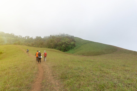 group of tourist on Top of mountain in Mon jong doi, Chiang Mai, Thailand