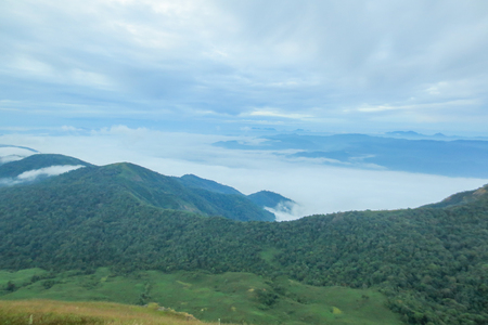 Cloud and Fog in the morning at Doi Mon Jong, a popular mountain near Chiang Mai, Thailand