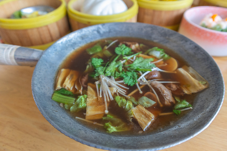 Bak kut teh or meat bone tea, delicious soup in southern of Thailand
