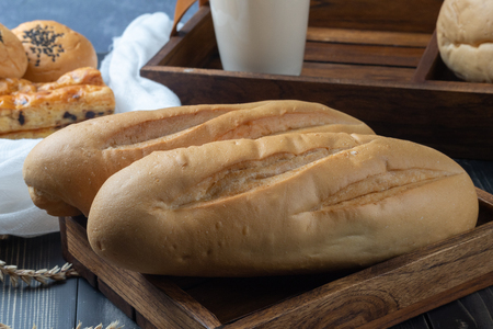 close up of soft french baguette bread 写真素材 - 120853850