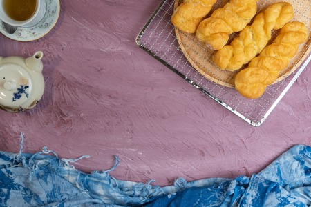 close up of homemade fried doughnuts twist