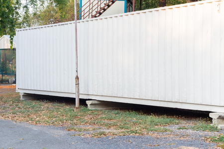 white striped line in container box wall