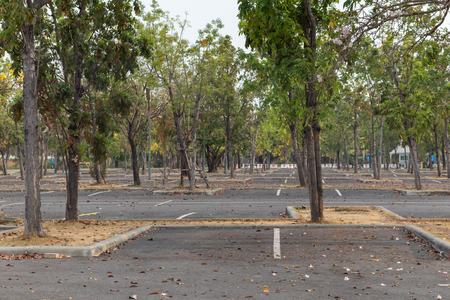 empty outdoor car parking at the park, Thailand