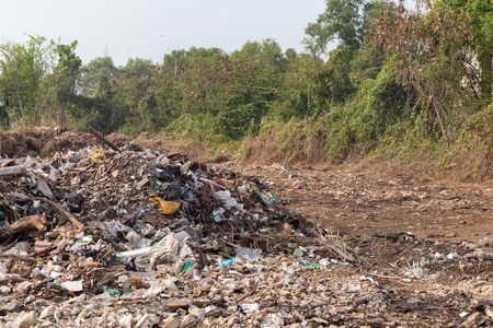 pile of garbage in construction site after destroy building