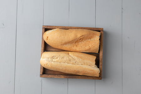 flat lay of variety of bakery and bread on wooden board Reklamní fotografie
