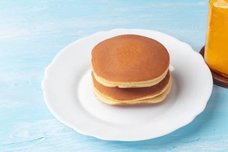close up of stack dorayaki (Japanese Pancake Sandwich)