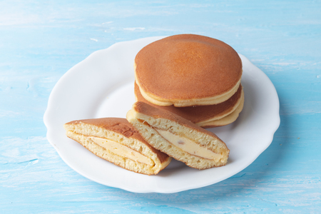 close up of creamy almond dorayaki (Japanese Pancake Sandwich)