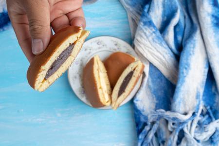 close up of chocolate dorayaki (Japanese Pancake Sandwich) Reklamní fotografie