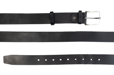new black leather belt on white background