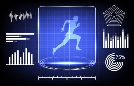 abstract concept of scanning athlete ability with digital technology interface