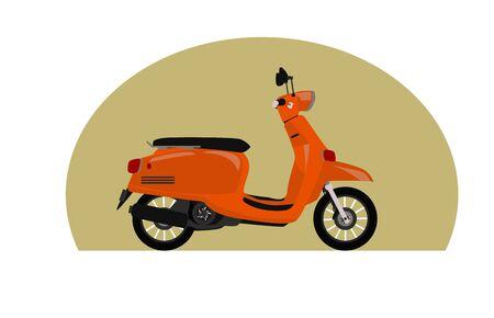 orange scooter bike vintage style vector illustration