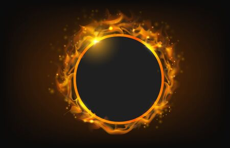 glowing circle fire frame with particle abstract background